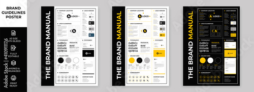 Obraz DIN A3 Brand Guidelines Poster Layout Set, Brand Manual Templates, Simple style and modern layout Brand Style, Brand Identity, Brand Guidelines - fototapety do salonu