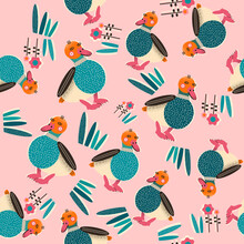 Colorful Seamless Pattern With Hand Drawn Ducks. Trendy Illustrations In Vector.
