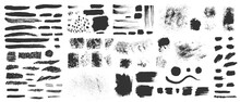 Vector Hand Drawn Ink Design Elements. Sponge Stamps, Dry Brush Marks, Splatter Sprinkles, Pastel Pencil Textures. Set Of Grunge Black Artistic Brushstroke Design Elements Isolated On White Background