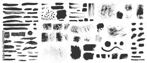 Fototapeta Vector hand drawn ink design elements. Sponge stamps, dry brush marks, splatter sprinkles, pastel pencil textures. Set of grunge black artistic brushstroke design elements isolated on white background obraz