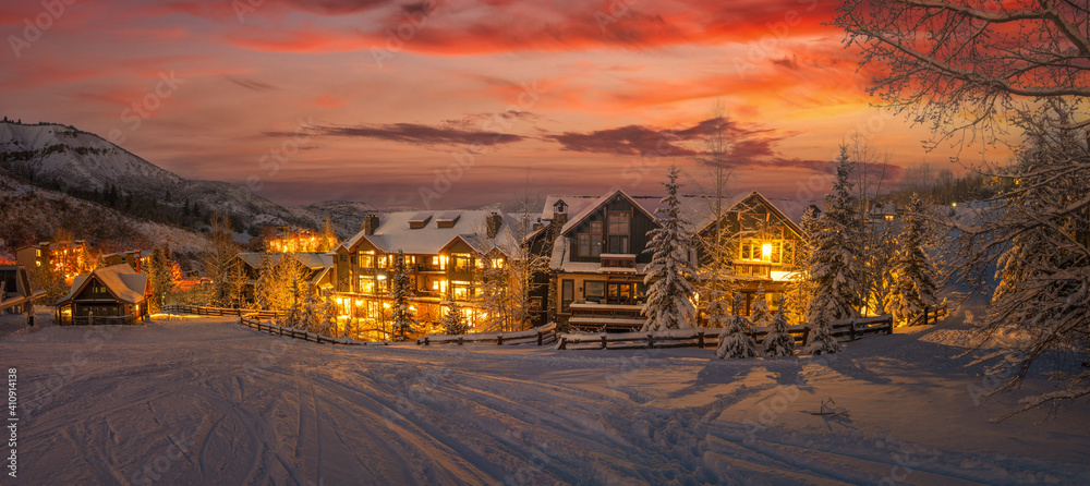 Fototapeta Ski resort in the Rocky Mountains