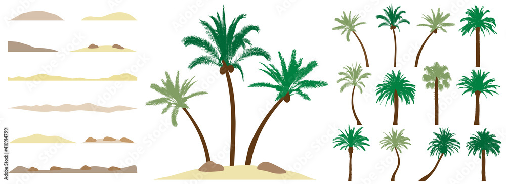 Fototapeta Palm trees, constructor kit. Beautiful palm trees, sand, stone. Collection of element for create beautiful exotic island, beach and etc. Vector illustration.