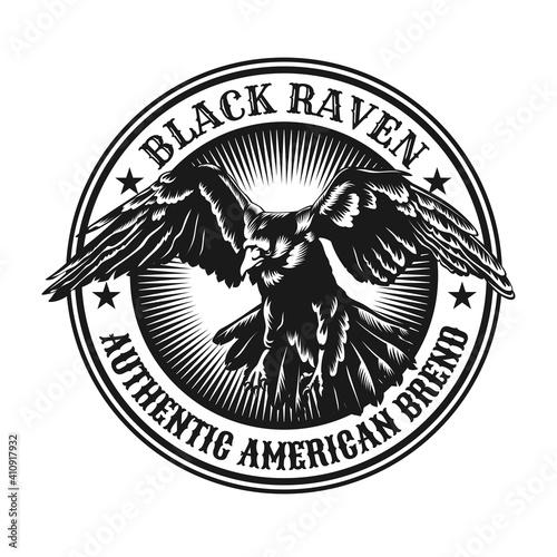 Photo Flying raven emblem design
