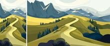 Beautiful Mountain Road. Set Of Beautiful Non-urban Scenes In Vertical And Horizontal Orientation.