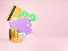 Wallet And A Lot Of Money, Concept Saving Money For Finance Accounting - 3D Render