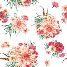 Watercolor Seamless Pattern With Boho Bouquets Of Flowers. Hand Painted Repeating Background With Floral Elements. Garden Style Texture
