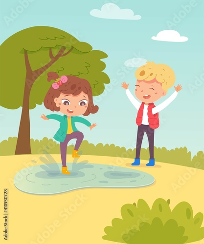 Happy kids in spring. Children in warm weather having fun outdoor vector illustration. Girl jumping in boots in puddle, boy laughing with arms up in park. Tree and blue sky background Wall mural