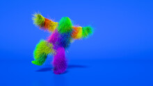 Funny Hairy Multicolored Monster Man Character Dancing . Furry Beast Having Dancing, Fur Bright Funny Fluffy Character, Snowman, Seamless Motion Design.