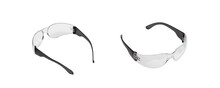 Modern Protective Transparent Glasses Isolate On A White Back. Goggles For Eye Protection While Shooting Or Working.