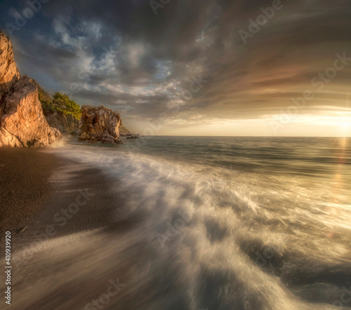 Scenic View Of Sea Against Sky During Sunset Fotobehang