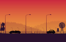 Silhouette Retro Car With Retro Sign And Forest Landscape Road On Orange Gradient Background