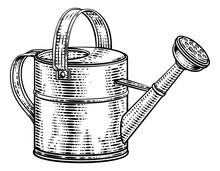 Garden Watering Can Gardening Tool Illustration In A Vintage Retro Woodcut Style