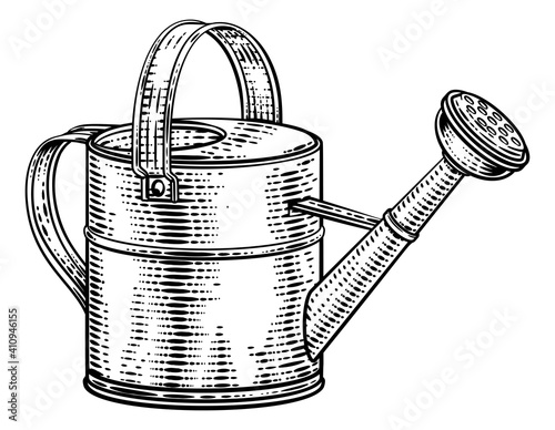 Fotografie, Obraz Garden watering can gardening tool illustration in a vintage retro woodcut style