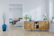 Modern Mid Century And Vintage Interior Of Bedroom And Living Room