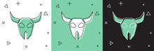 Set Buffalo Skull Icon Isolated On White And Green, Black Background. Vector.