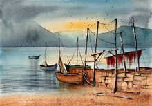 Watercolor Illustration Of A Landscape With A Lake, Several Fishing Boats At A Pier On A Sandy Shore And Distant Mountains In The Haze