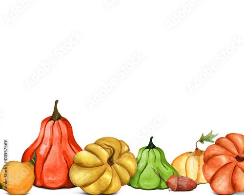 Obraz Watercolor pumpkin designe frame. Template for decorating designs and illustrations. - fototapety do salonu