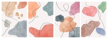 Abstract Design Modern Trendy With Doodles And Various Shapes. Vector Set Of Creative Minimalist Hand Painted Illustrations For Wall Decoration, Postcard Or Brochure Cover Design