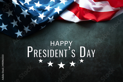 Obraz na plátně Presidents' Day Typography abstract Background with American Flag