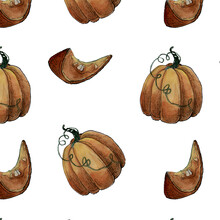 Watercolor Illustration Seamless Pattern Autumn Pumpkin And Pumpkin Slice