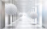 Fototapeta Do przedpokoju - 3d picture spiky balls in the tunnel