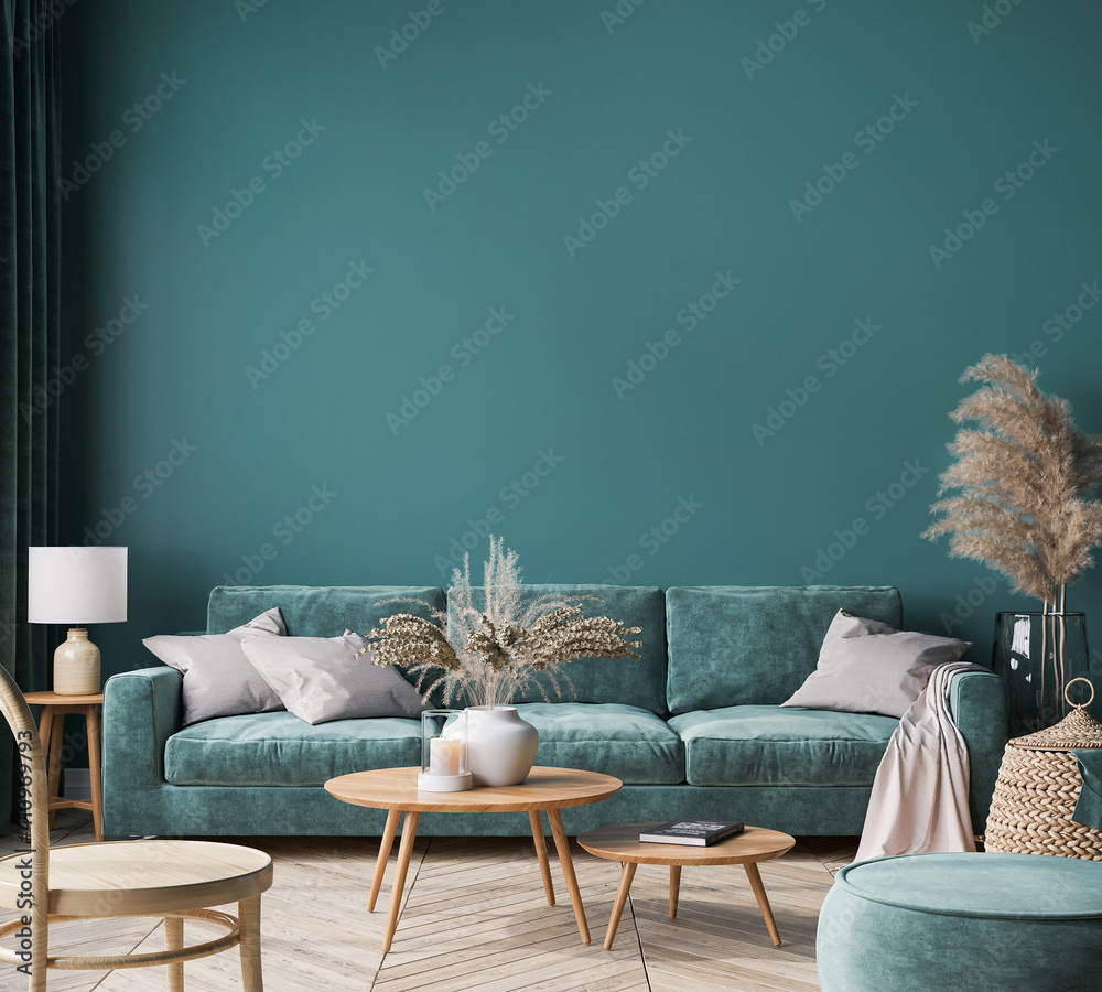 Fototapeta Home interior mock-up with green sofa, wooden table and trendy decoration in green living room, 3d render