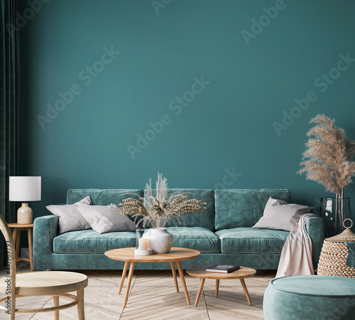 Obraz Home interior mock-up with green sofa, wooden table and trendy decoration in green living room, 3d render - fototapety do salonu