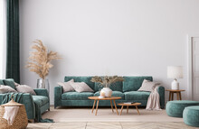 Home Interior Mock-up With Green Sofa, Wooden Table And Trendy Decoration In White Bright Living Room, 3d Render