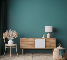 Home Interior Mock Up In Modern Background, Green Living Room, Scandinavian Style, 3d Render