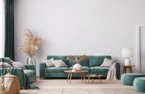 Obraz Home interior mock-up with green sofa, wooden table and trendy decoration in white bright living room, 3d render - fototapety do salonu
