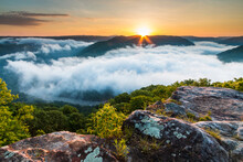 Dramatic Spring Landscapes In New River Gorge National Park In West Virginia,USA. Clouds  Covering The Gorge During Sunrise  In The Grandview Overlook .it Is The Newest National Park In The US.
