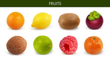 Fruits Isolated On White Background. Orange, Lemon, Kiwi, Mangosteen, Coconut, Lime, Raspberry, Mandarin. Set. Collection.