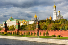 View Of Kremlin Wall, Towers, Cathedrals And Grand Kremlin Palace From Kremlin Embankment Side In Center Of Moscow, Russia