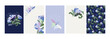set of cards with floral motives. Vector peonies, butterflies, floral ornaments on blue and white background