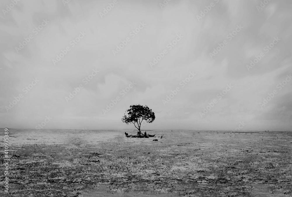 Fototapeta Lone Tree On Field Against Sky