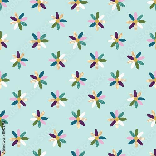 Vászonkép Colorful Textured Daisy Flower Seamless Pattern