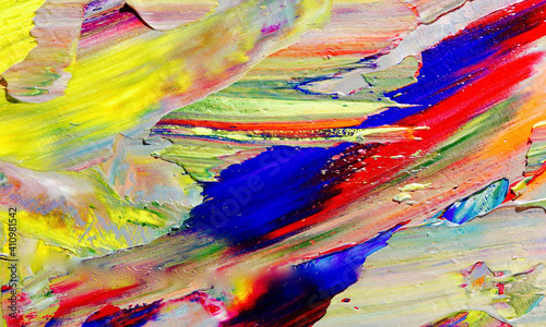 Fototapety, obrazy: Colorful abstract painting background. . Fluid ink Color texture. Intensive multicolor mix of oil vibrant colors. Paint Brushstrokes on canvas for trendy poster wallpaper