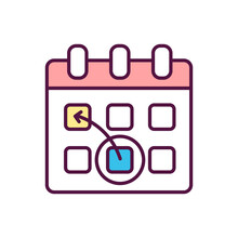 Re-schedule RGB Color Icon. Re-arrangement For Appointment. Time Management And Event Planning. Pre-launch Organization. Change Project Deadline. Date Of Calendar. Isolated Vector Illustration