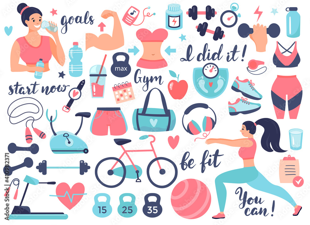 Fototapeta Fitness and Athletics accessories: dumbbells, sneakers, and other sports equipment. Design elements perfect for poster, invitation, sticker kit. Vector illustration