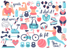 Fitness And Athletics Accessories: Dumbbells, Sneakers, And Other Sports Equipment. Design Elements Perfect For Poster, Invitation, Sticker Kit. Vector Illustration