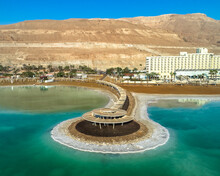 Aerial View In-sea Gazebo Surrounded By Salt Water In A Hotel Area. The Dead Sea, Negev, Israel.