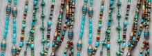 Horizontal Repeatable Banner Of Burlap With Turquoise And Silver Beaded Strands -- Background