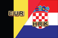 Belgium And Croatia Currencies Codes On National Flags Background