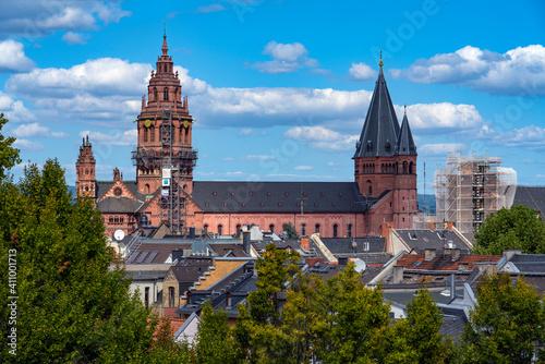 Fotografia, Obraz Mainz Dom Against Cloudy Sky