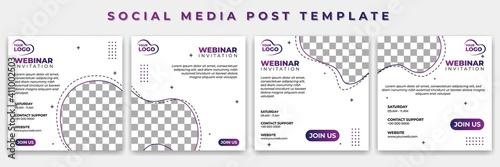 Obraz Set of Social Media template with white color vector illustration. webinar invitation design. Good template for online advertising design. - fototapety do salonu