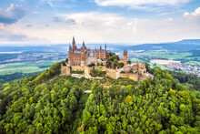 Hohenzollern Castle On Mountain Top In Stuttgart Vicinity, Germany
