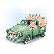 Wedding Pickup With Roses And Jute Bows