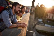 Happy Tourist Couple Sightseeing; Traveller Lifestyle