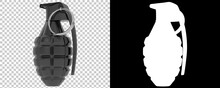 Hand Grenade Isolated On Background With Mask. 3d Rendering - Illustration
