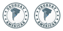 Uruguay Round Logos. Circular Badges Of Country With Map Of Uruguay In World Context. Plain And Textured Country Stamps. Vector Illustration.